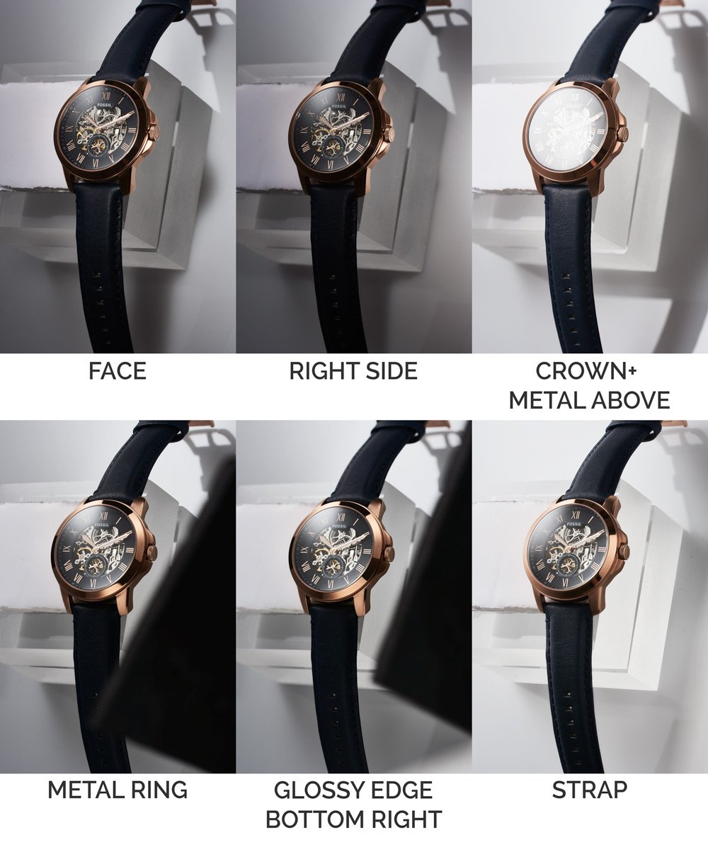 6 watches can be seen demonstrating the process of composting in watch photography